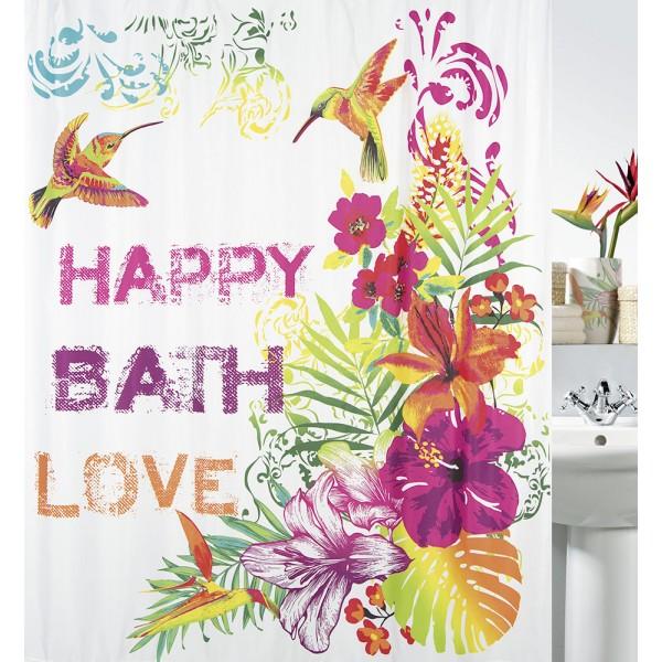 Cortina baño textil Formentera multicolor 180x200 cm