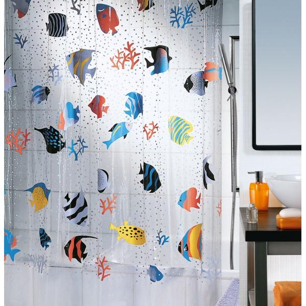 Cortina baño PVC Peces Colores 180x200 cm