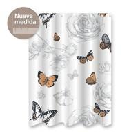 Cortina de baño blanca poliester estampado de mariposas 180x200 cm