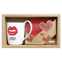 """Set mug bigotes + Cucharilla+ Posavasos corazón """"Mr."""""""