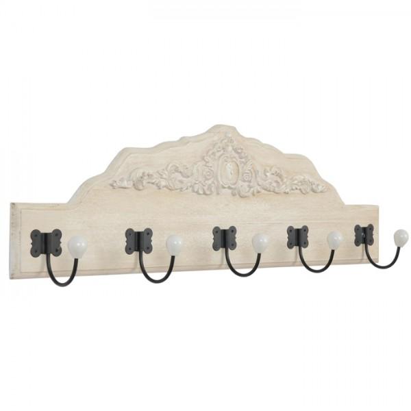 Perchero de pared en madera blanca y 5 colgadores 80x27x10 cm