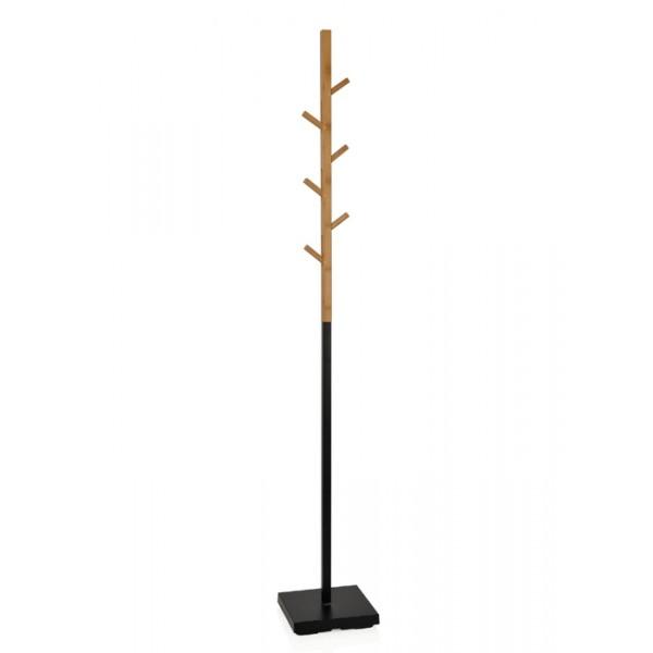 Perchero de pie en bambú y metal negro 176 cm