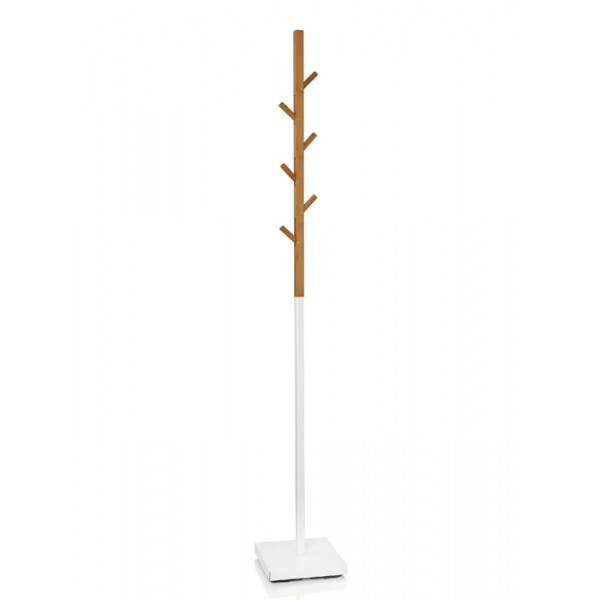 Perchero de pie en bambu y metal blanco 176 cm
