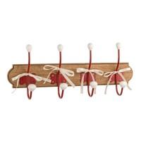 Perchero de pared en madera 4 colgadores rojos con lazos 50x20x8cm