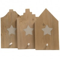 Perchero individual en madera casa con estrella varios modelos 9x16cm