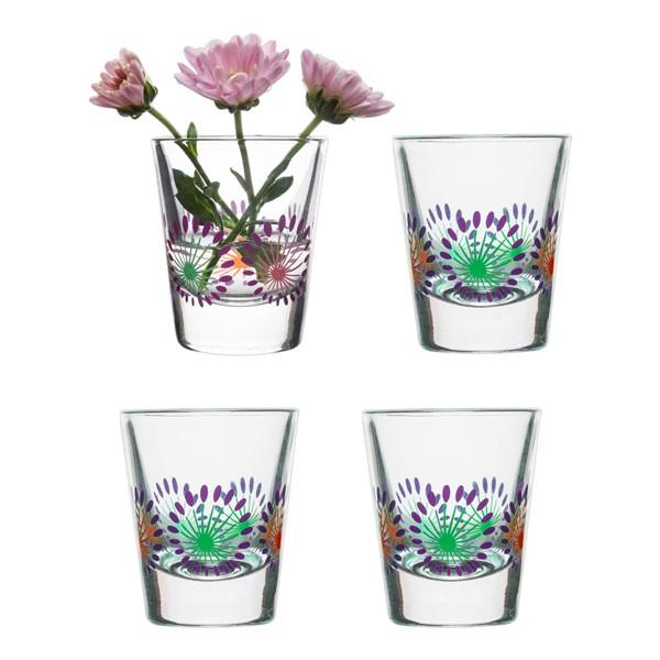 Set 4 chupitos cristal decorado colores 45ml