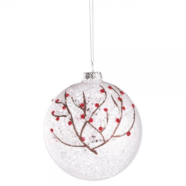 Bola árbol de Navidad cristal transparente ramitas nevadas 10 cm