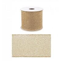 Rollo lazo cinta regalo navidad dorado 6,3cm x 4 m