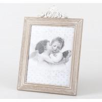 Marco fotos madera natural barroco blanco 20x25 cm