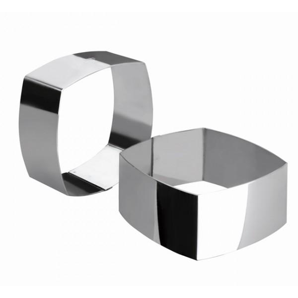 Aro para emplatar inox cuadrado lados abombados 8x8xh4,5cm