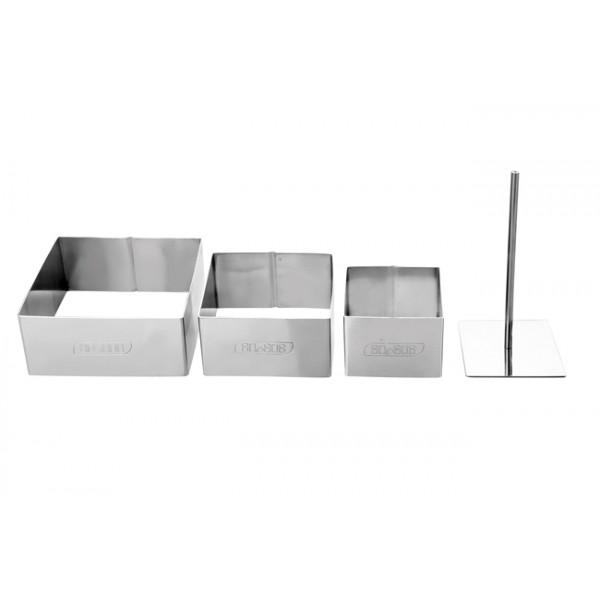 Set 3 aros para emplatar inox cuadrados con pisador 6, 8 y 10cm