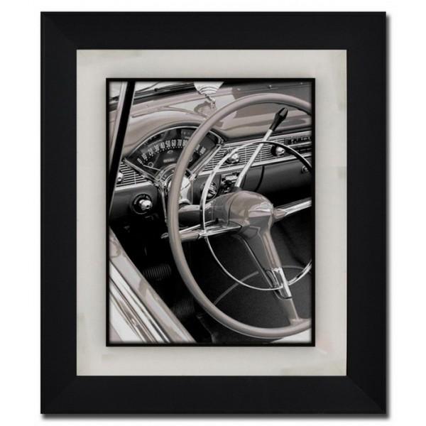 Cuadro imagen coche antiguo en blanco y negro con cristal y marco negro 53x63 cm