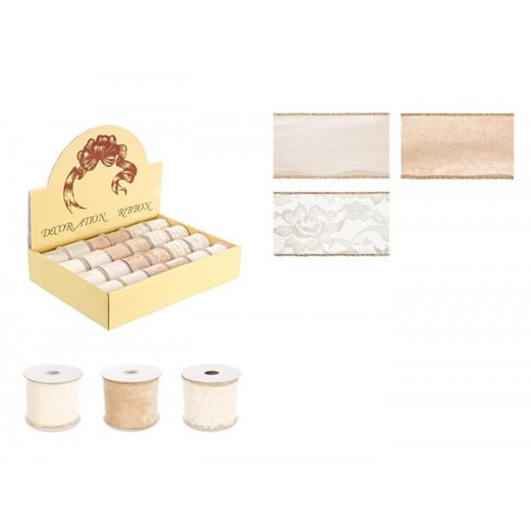 Rollo lazo cinta regalo Navidad terciopelo y encaje colores crema 3 modelos 3,5 m