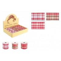 Rollo lazo cinta regalo Navidad cuadros rojos 3 modelos 3,5 m