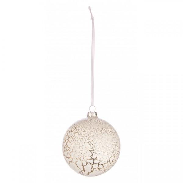 Bola árbol de Navidad cristal blanca craquelada 8 cm