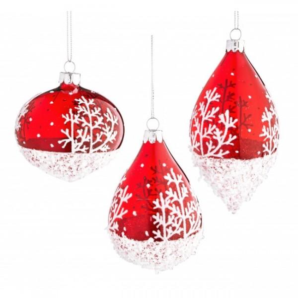 Bola árbol de Navidad cristal rojo con nieve 7 cm 3 modelos