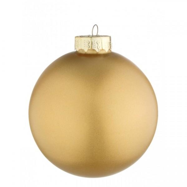 Bola árbol de Navidad cristal lisa dorada opaca 10 cm