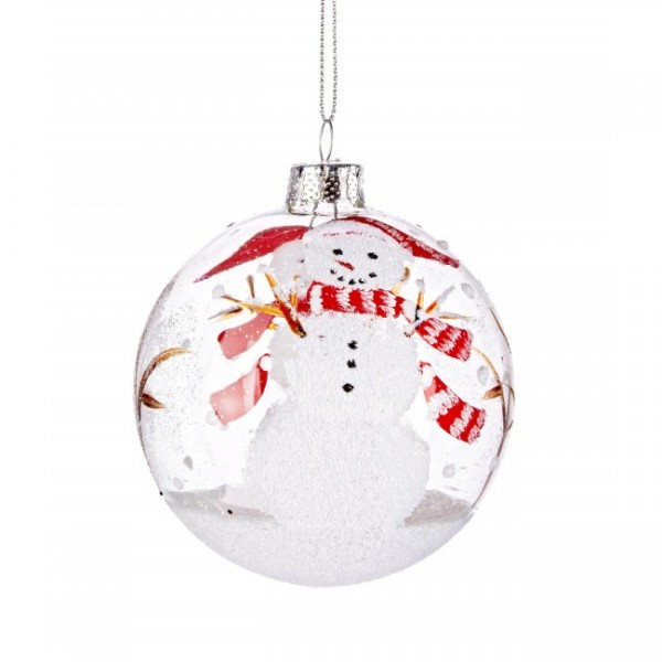 Bola árbol de Navidad cristal transparente muñeco de nieve 8 cm