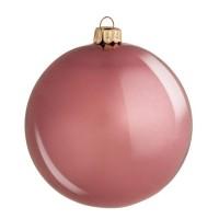 Bola árbol de Navidad cristal lisa rosa brillante 10 cm