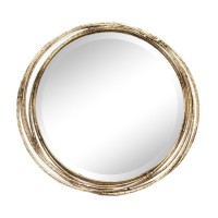 Espejo decorativo redondo marco metálico aros dorados 44cm