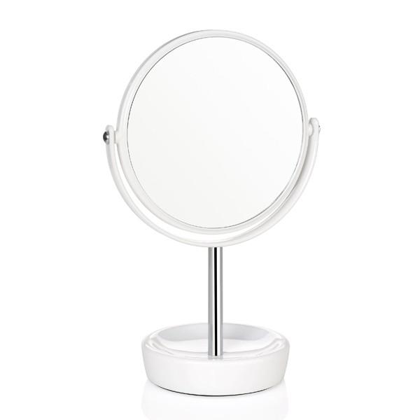 Espejo redondo con pie blanco x2 aumentos 16x29,5cm