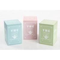 Caja madera para te rosa/azul/verde vintage 12x12x18cm