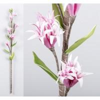 Flor foam 6 flores rosas 26x14x77cm