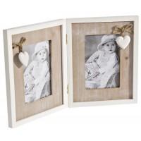 Marco de fotos doble madera con corazones 36x23cm