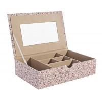 Joyero caja textil con espejo estampado flores 30x20x7,7cm