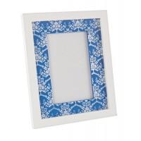 Marco de fotos marco mdf blanco y azul estampado Paros 18x22cm