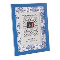 Marco de fotos marco mdf azul y blanco estampado Anafi 19x25cm