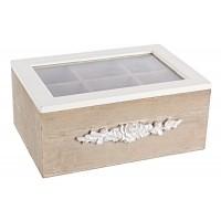 Caja te 6 compartimentos madera flores 24x17x10h cm