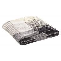 Manta plaid acrílica rayas clásicas beige y negro 130x170cm