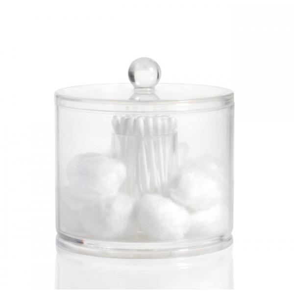Bote dispensador acrílico con tapa 2 en 1 para algodón y bastoncillos 11,3xh12,5cm