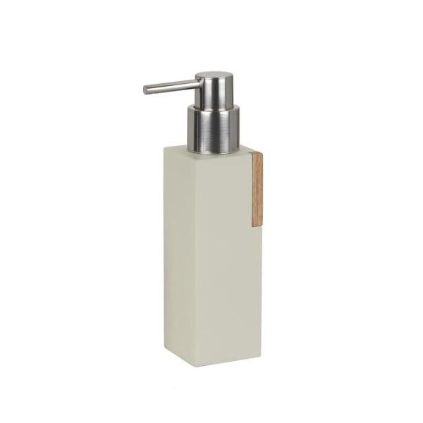 Dispensador de jabón baño en madera y poliresina beige alargado