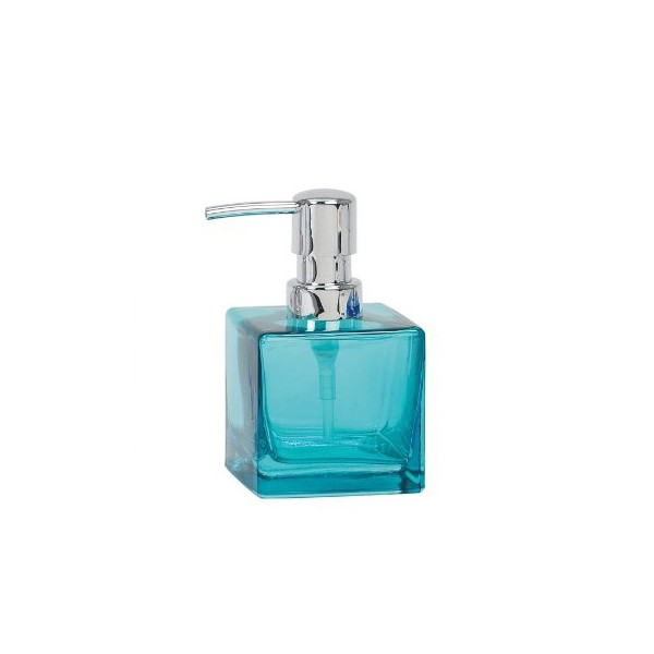 Dispensador de jabón baño cuadrado vidrio turquesa