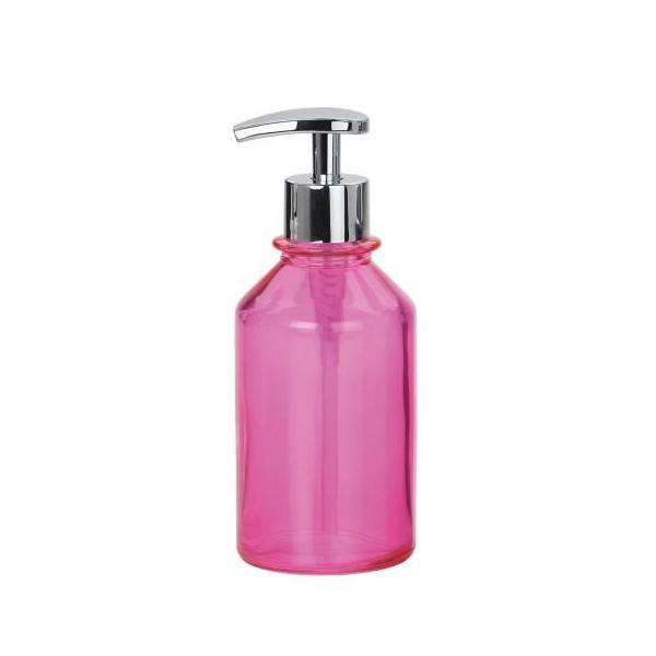Dispensador de jabón baño redondo cristal rosa