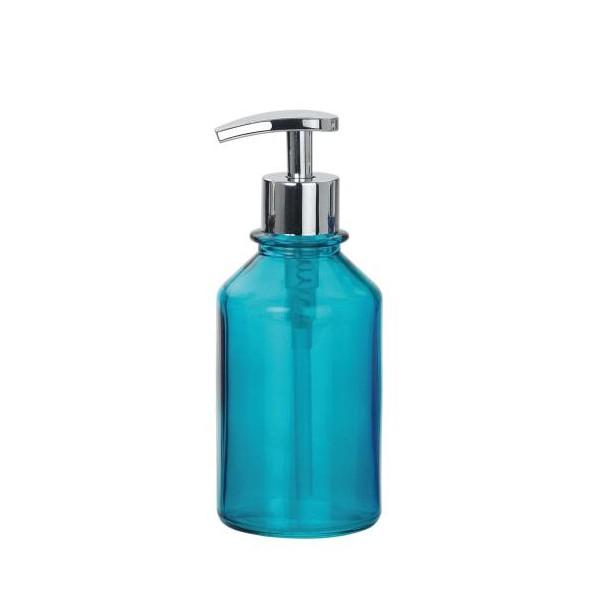 Dispensador de jabón baño redondo cristal turquesa