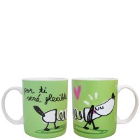 "Mug verde con frase divertida ""por ti seré flexible"" 340ml"