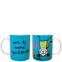 """Mug azul con frase divertida """"por ti haré equilibrios"""" 340ml"""