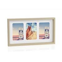 Portafotos multiple 3 fotos madera natural fondo blanco 10x15cm