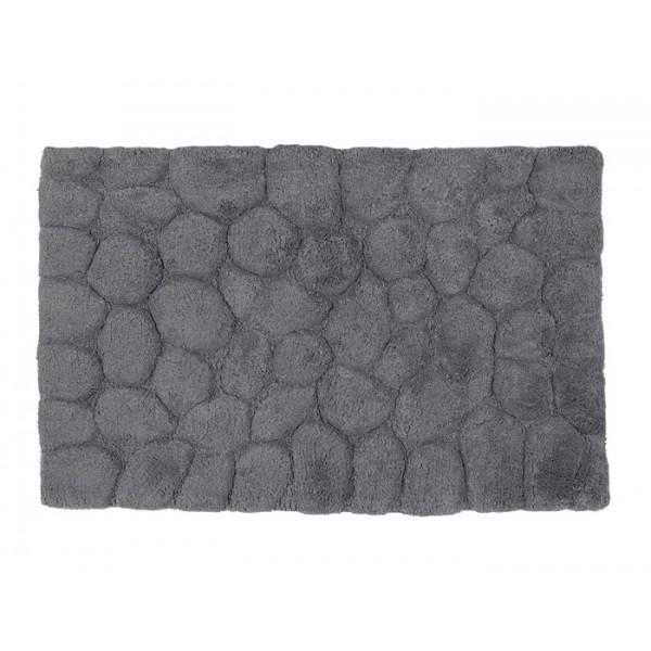 Alfombra baño algodón relieve piedras gris 50x80cm
