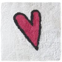 """Alfombra de baño blanca con corazón rosa """"Adoptamos pulpo"""" 55x55cm"""