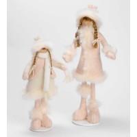 Muñeca de Navidad pequeña rosa con soporte
