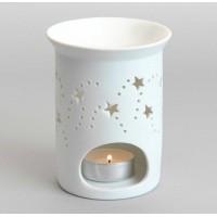 Quemador porcelana blanco para aceites esenciales Estrellas 9x12 cm