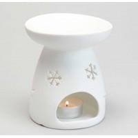 Quemador porcelana blanco para aceites esenciales Copos de Nieve 10x11cm