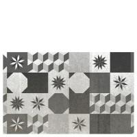 Alfombra cocina vinílica estampado baldosas antiguas blanco y negro 50x80 cm