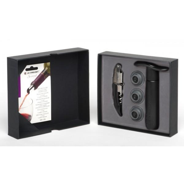 Set accesorios vino: sacacorchos 2 tiempos + Bomba vacio+ hojas antigoteo GS-135 Le Creuset Screwpull