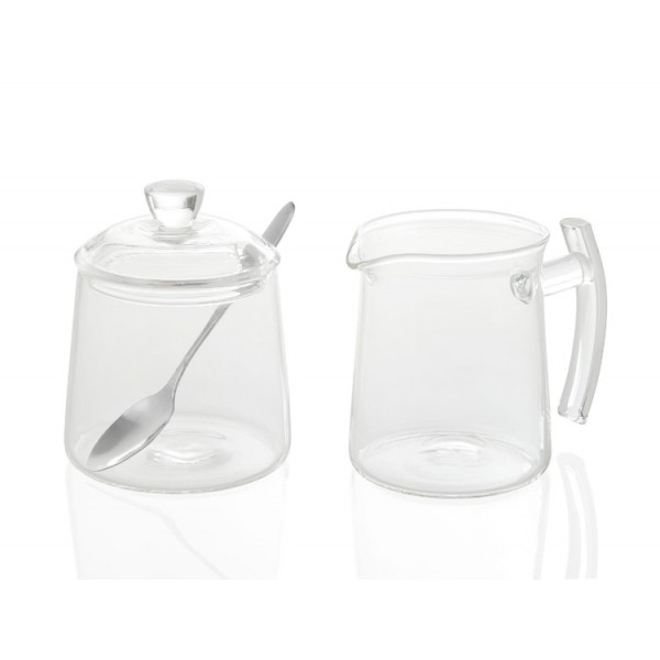 Set lechera y azucarero cristal con cuchara 250ml
