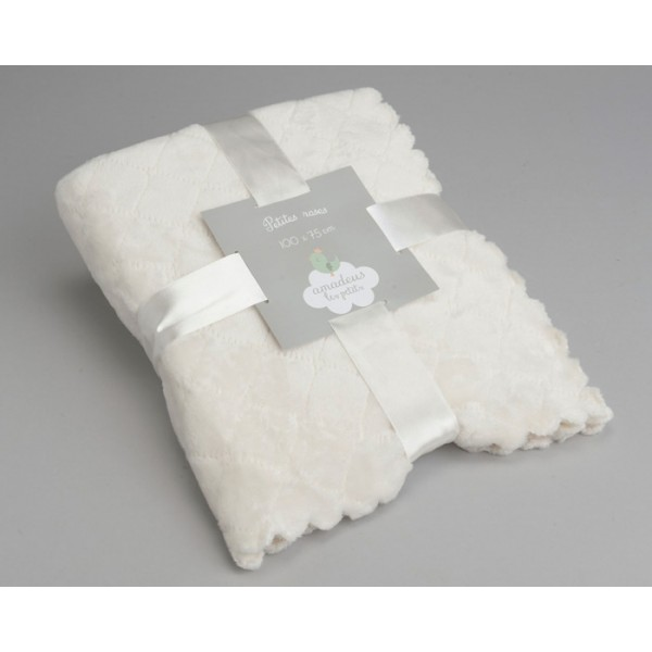 Manta infantil delicada crema 100x75 cm